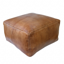 Moroccan Pouffe Pouf COVER  Large Square 65x65x40 cm Real Leather Natural Tan Handmade